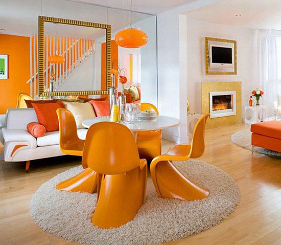 Charming-Modern-Dining-Room-Decorating-With-Orange-Round-Carpet-Rug