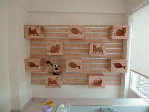 Домик для кошки своими руками на стене