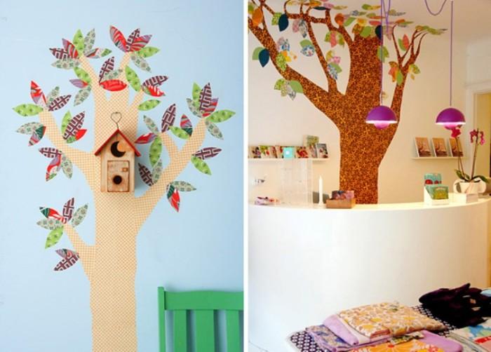 Настенный декор в детской комнате из остатков обоев