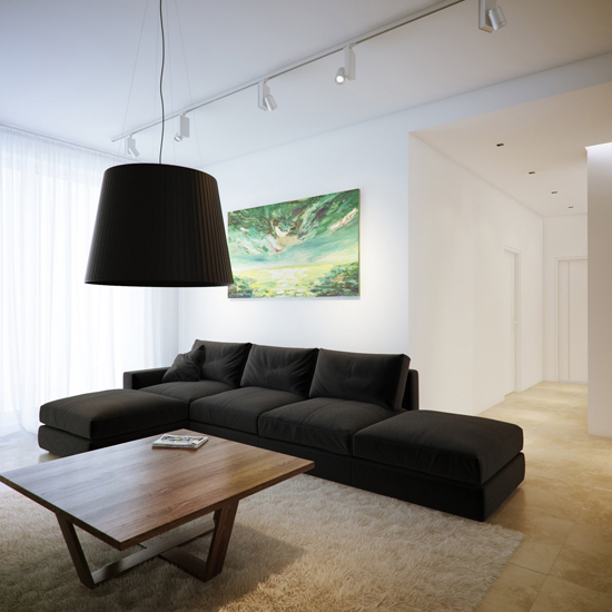 Освещение в гостиной в стиле хай-тек
