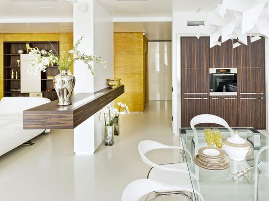 Совмещение кухни и гостиной в интерьере хай-тек