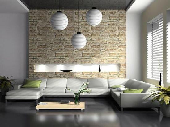 Искусственный камень в гостиной в стиле хай-тек