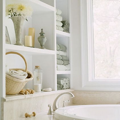 Modern-bathroom-white-shelf-with-towel-bar