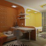 Фото 66: Зонирование детской комнаты гипсокартоном и цветом