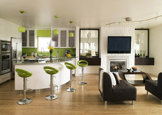 Разделение кухни и гостиной с помощью барной стойки