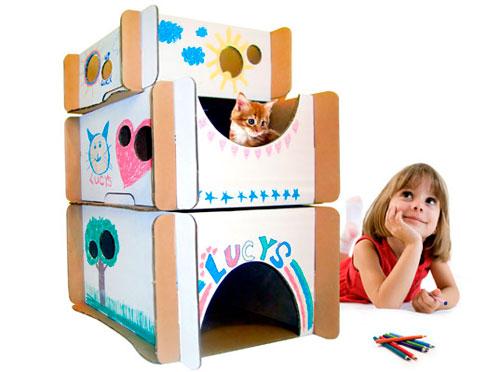 Украшаем домик для кошки из коробки
