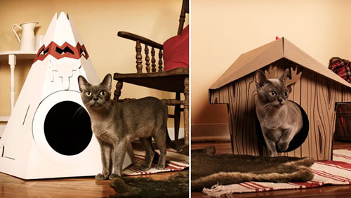Как сделать домик для кошки из картона