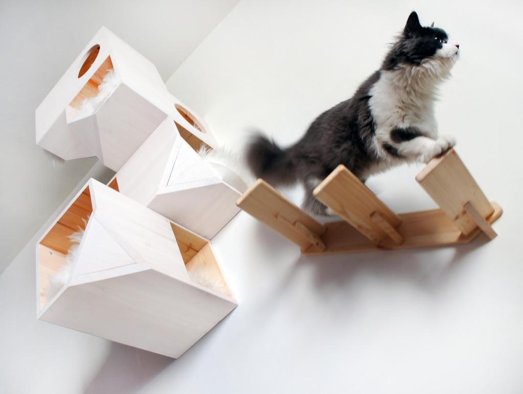 Деревянные настенные полки-ящики для кошек