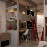 Фото 165: Детская комната в детской для двоих детей в стиле лофт для подростков
