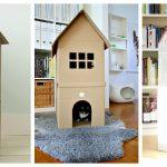 Двухэтажные домики для кошек из картона