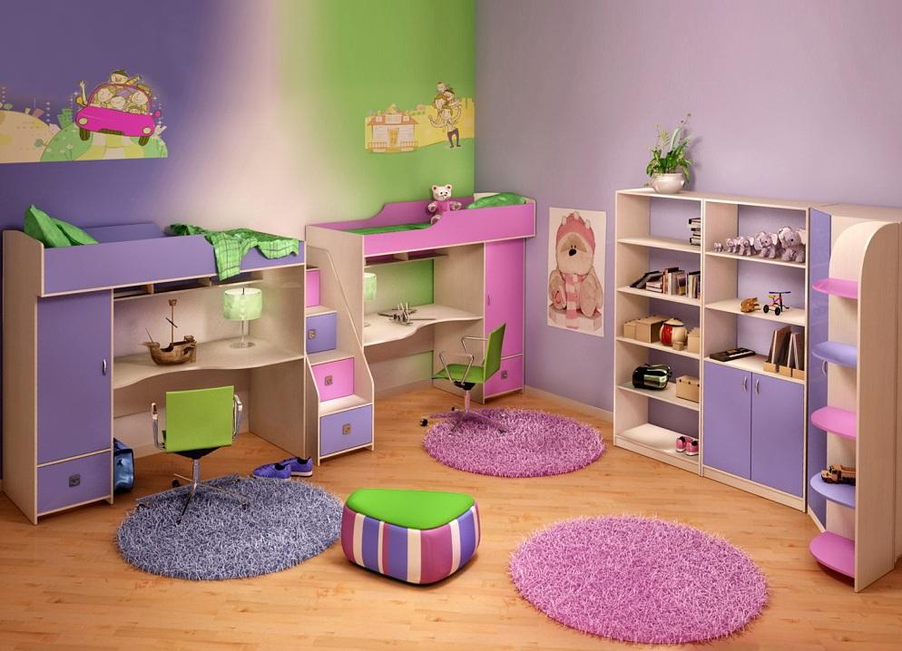 Цветовое выделение зон в детской для двух детей