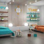 Фото 56: Разделение по цвету в комнате для близнецов