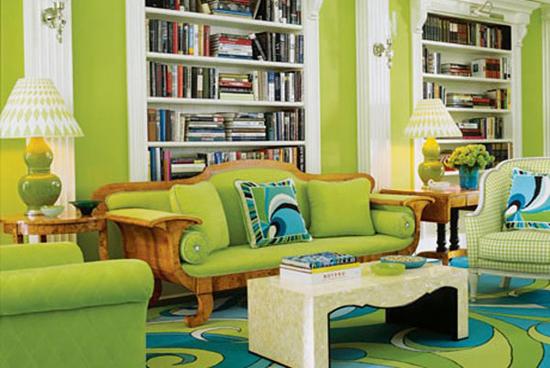 Фисташковый цвет в оформлении гостиной