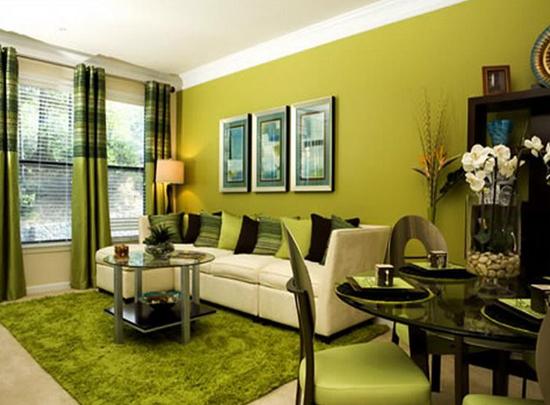 Обои фисташкового цвета в гостиной