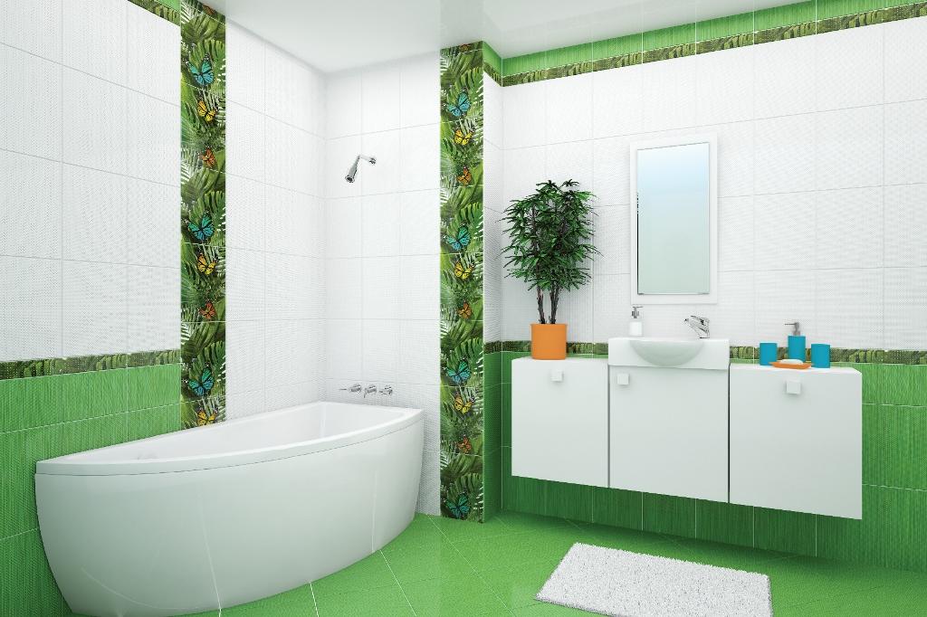 Бабочки и зеленые оттенки в ванной комнате