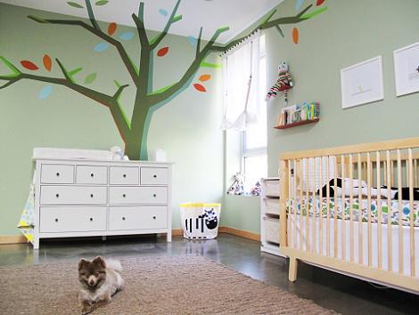 Оформление детской комнаты в зеленых тонах