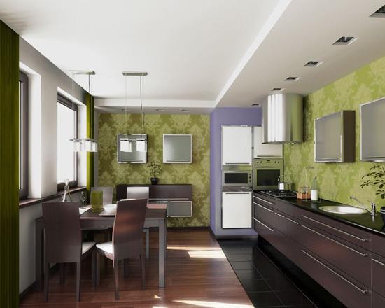 Фисташковый цвет в интерьере кухни