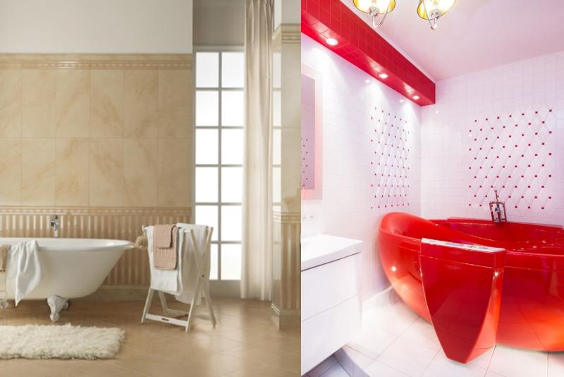 Использование белого и бежевого цвета в ванной комнате
