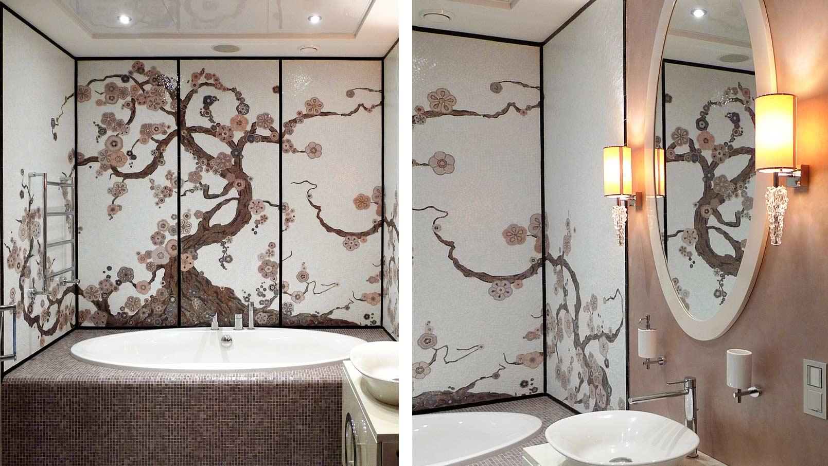 Имитация сакуры на стене в ванной комнате