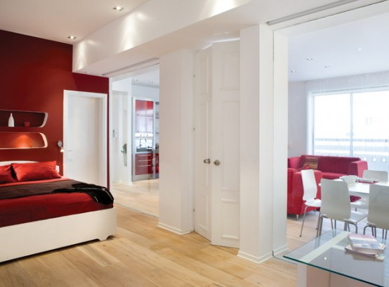 White-and-Red-Bedroom-Design-with-Dining-Room-Views