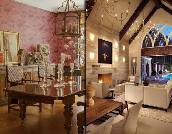 Деревянная люстра в готическом интерьере