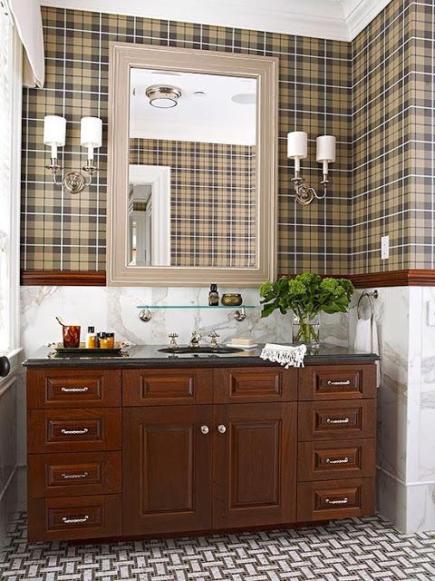 """Орнамент """"Тартан"""" в интерьере ванной комнаты"""