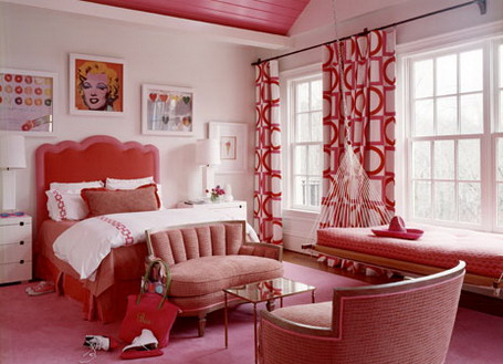Amazing-Red-Curtains-and-Modern-Bedding-Furniture-Sets-in-Girls-Bedroom-Design-Ideas
