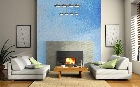 Как применять керамическую плитку на полу и на стене в гостиной