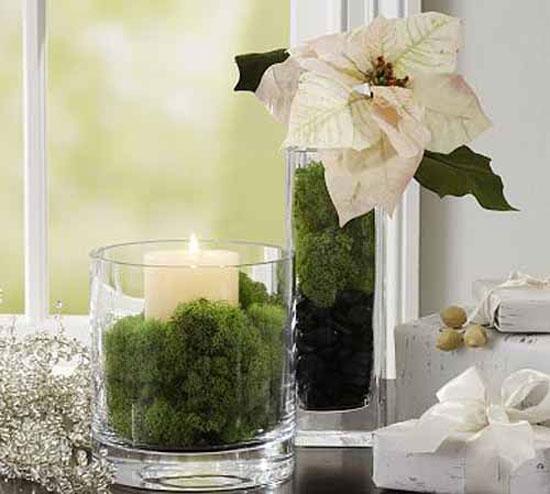 Новогодний декор окна - зажженные свечи