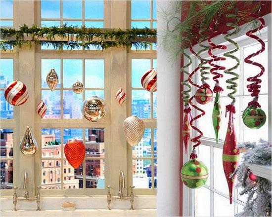Подвесные игрушки для украшения окна на Новый Год
