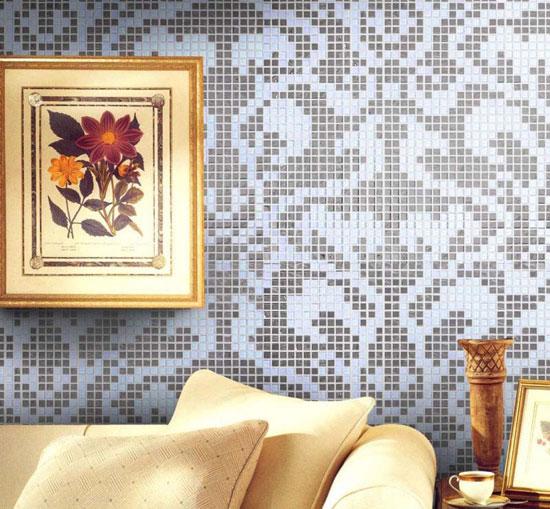 Использование мозаичной  плитки в гостиной