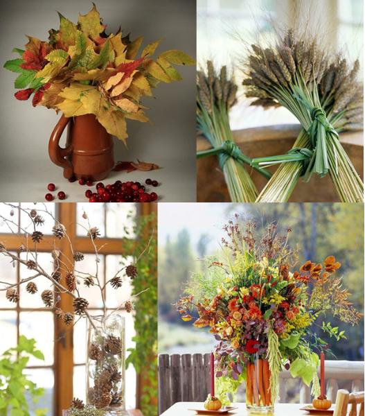 Декоративные букеты из осенних листьев
