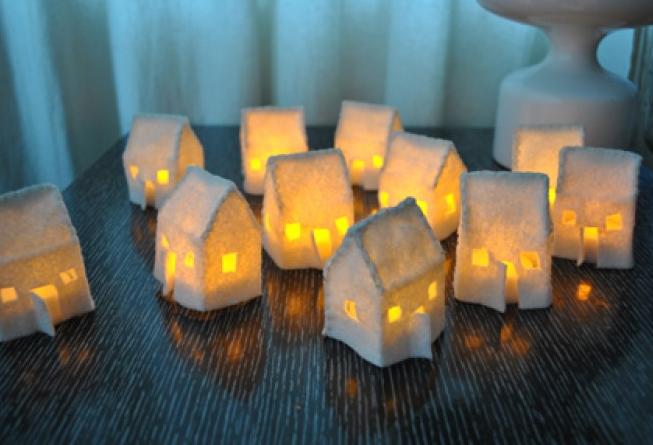 Рождественские домики-светильники