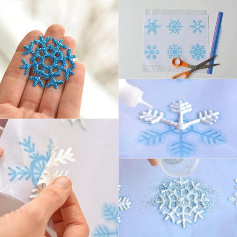 Снежинки из клея и блесток