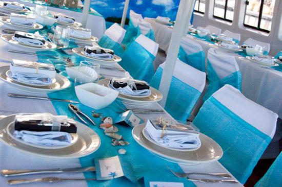 Украшение свадебного стола в морском стиле