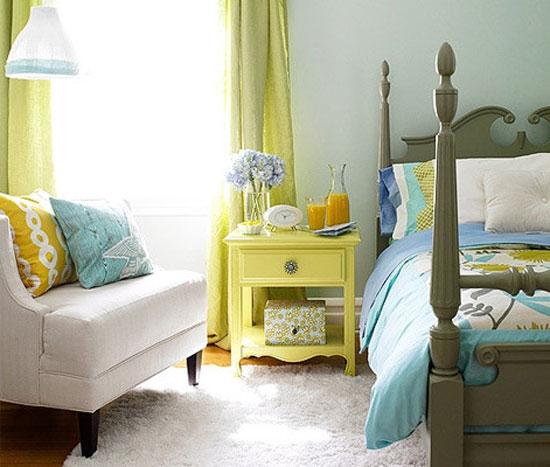 Зеленый и голубой цвет в интерьере детской комнаты
