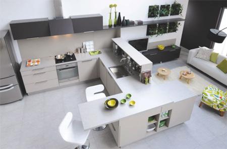 Расположение барной стойки на просторной кухне