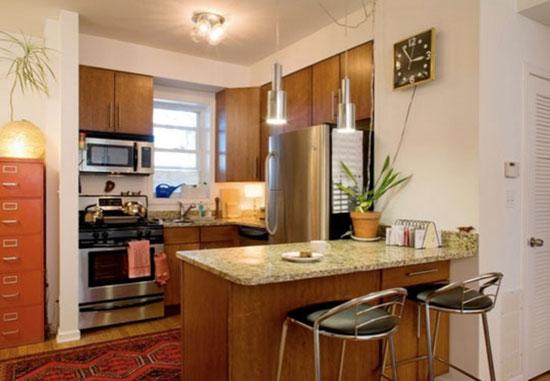 На маленькой кухне тоже можно расположить барную стойку