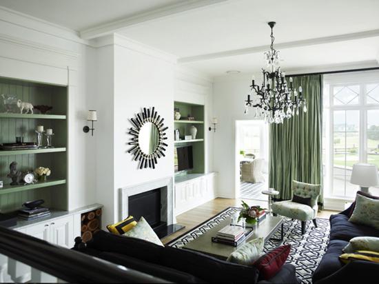Отделка гостиной в зеленых тонах