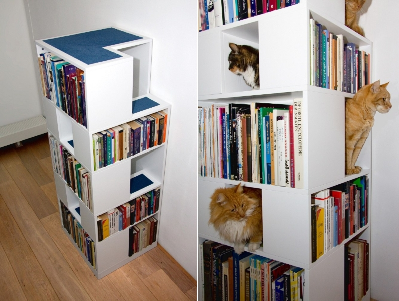 Полочки для кошки в шкафу