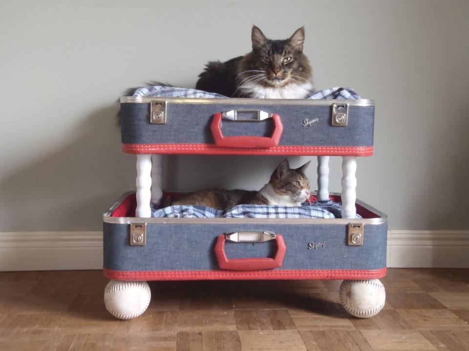 Винтажная двухэтажная лежанка для кошки из двух чемоданов