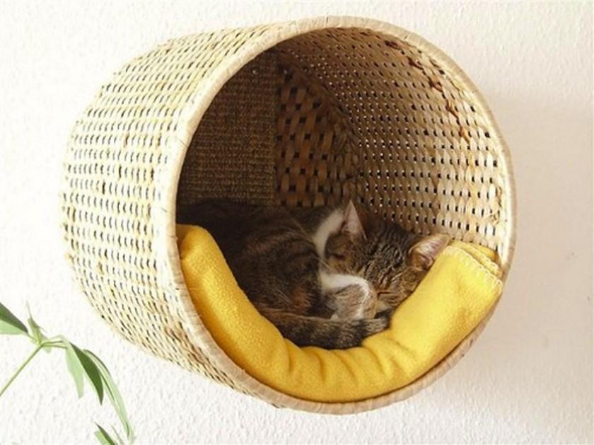 Лежанка для кошки своими руками из корзины