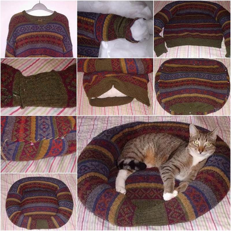 Изготовление лежанки из старого свитера