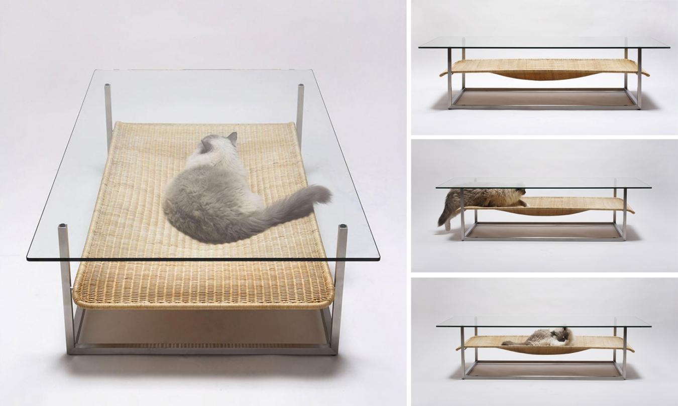 Гамак для кошки под журнальным столиком