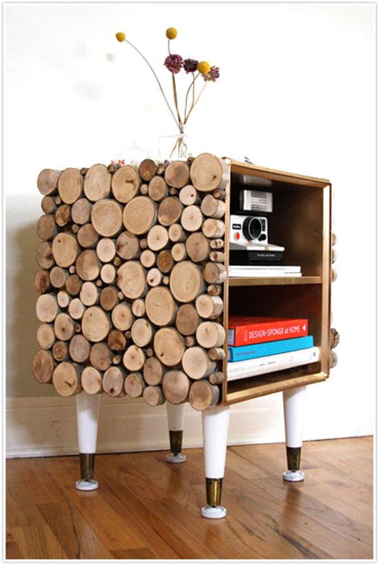 Деревянный декор в интерьере - оформление тумбочки