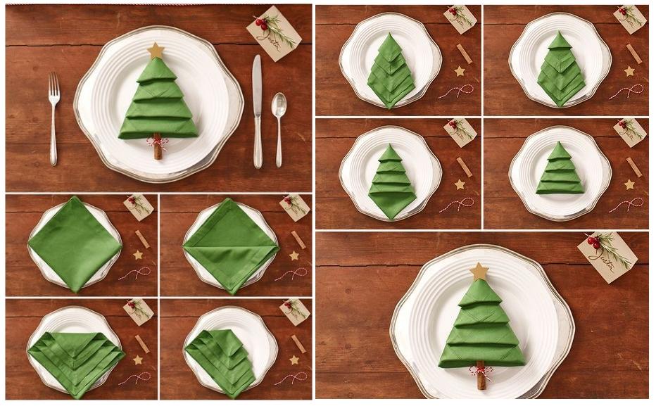 Оформление салфеток для тарелки в виде елочки