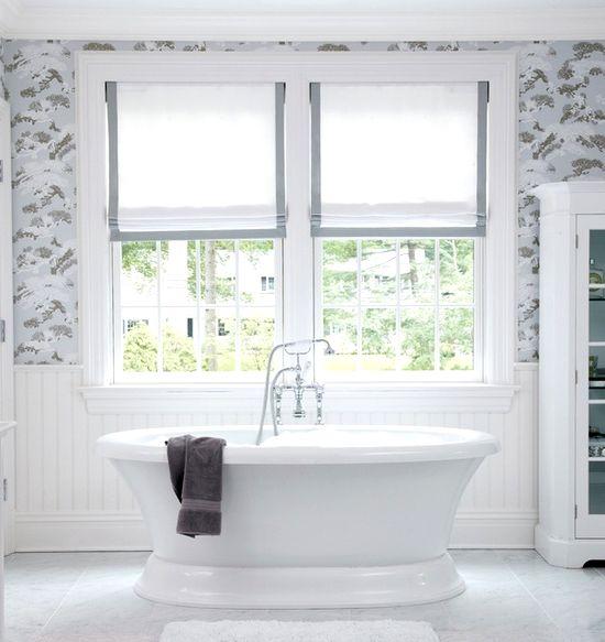 White bathroom curtains