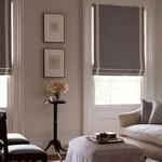 Фото 115: Гостиная с серыми шторами