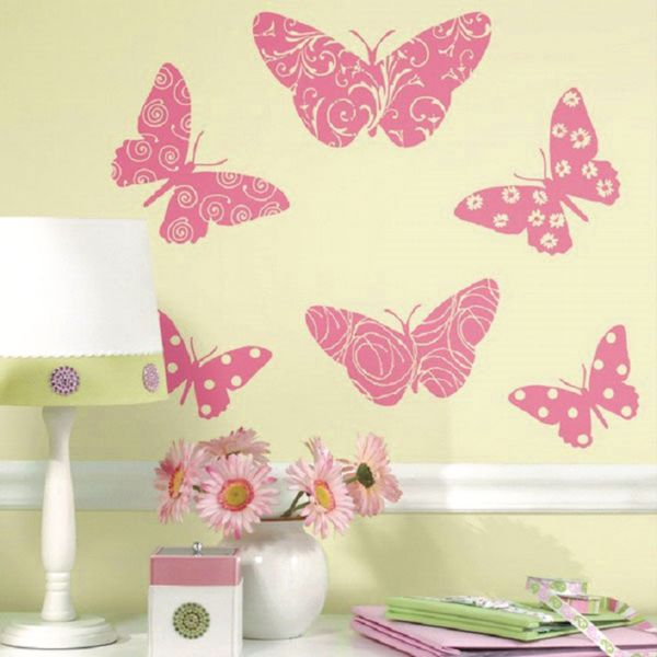 украшения стен бабочка ми через трафарет