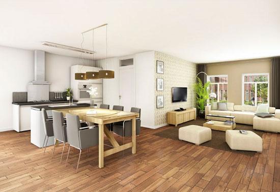 При помощи ковра можно зонировать интерьер кухни-гостиной